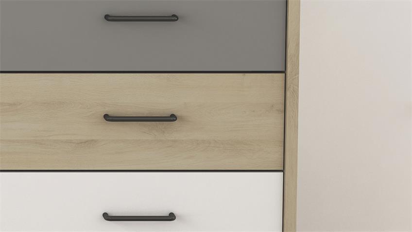 Nachtkommode FILEA Nachttisch 3-farbig Eiche weiß grau