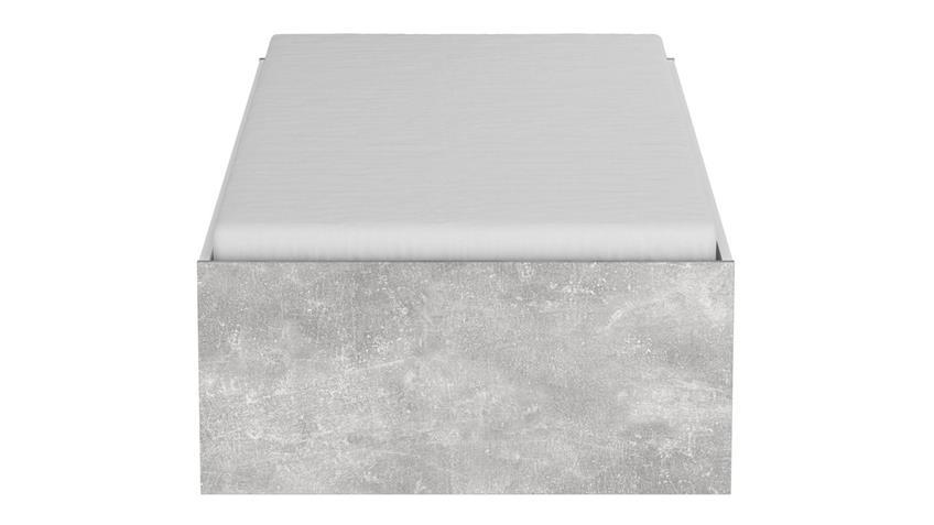 Bett CONCRETE Einzelbett weiß Betonoptik 90x200 cm