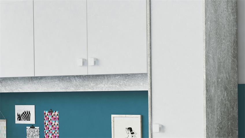Bett Überbau Set CONCRETE weiß Betonoptik 90x200 cm
