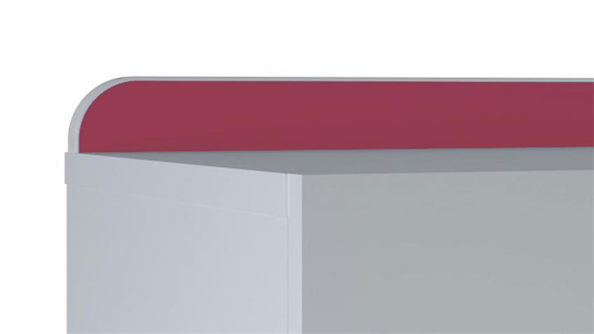 Nachttisch REVERSO Nachtkommode weiß Leiste blau rosa