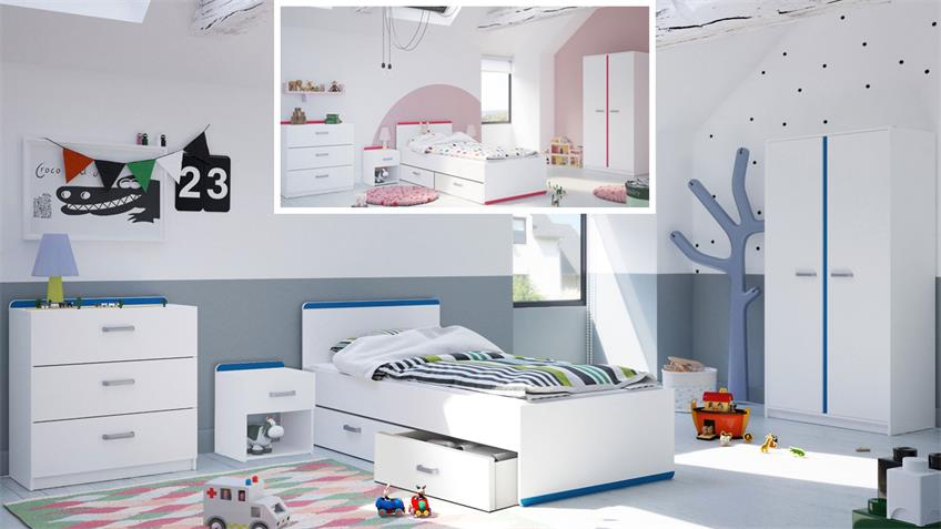 Kinderbett REVERSO Bett weiß matt Leiste blau rosa
