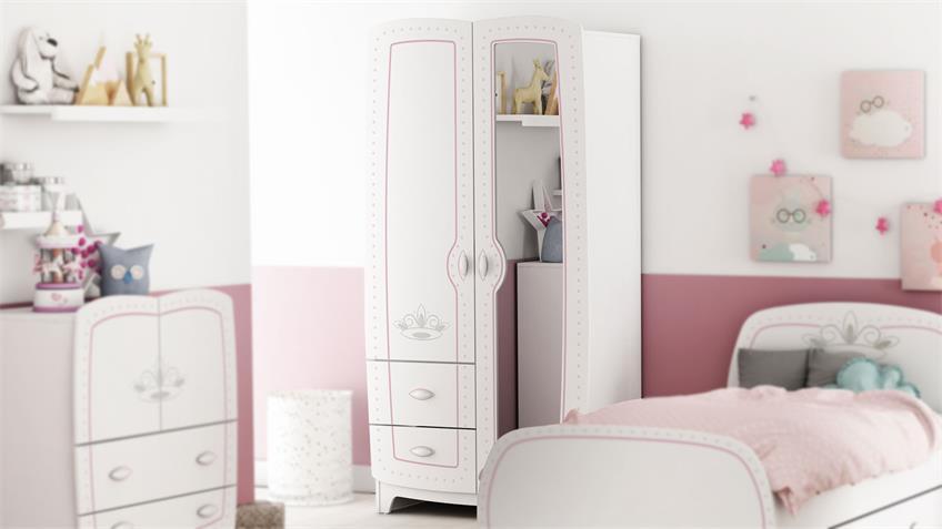 Kleiderschrank Diademe Kinderzimmer Prinzessin weiß rosa