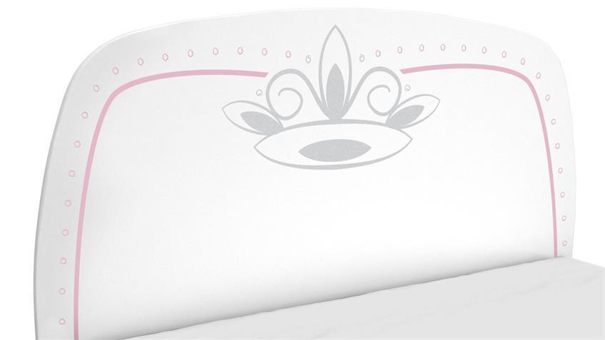 Kinderbett Diademe Bett Kinderzimmer Prinzessin weiß rosa