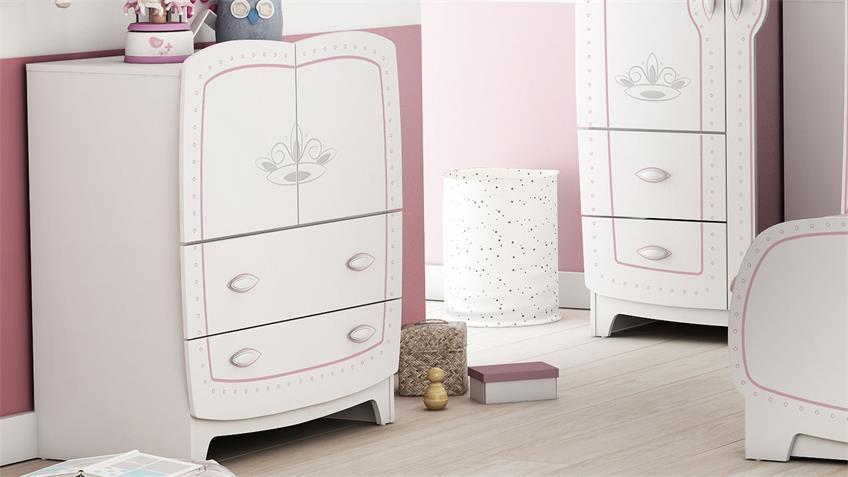 Kommode Diademe Kinderzimmerschrank Prinzessin weiß rosa