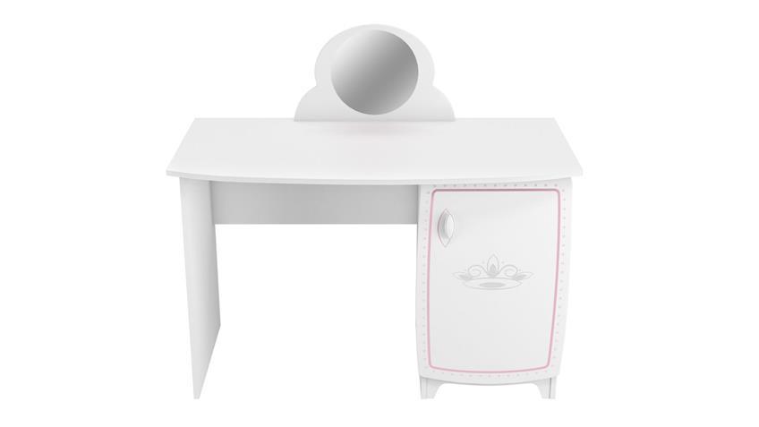 Schreibtisch Diademe Schminktisch weiß rosa inkl. Spiegel