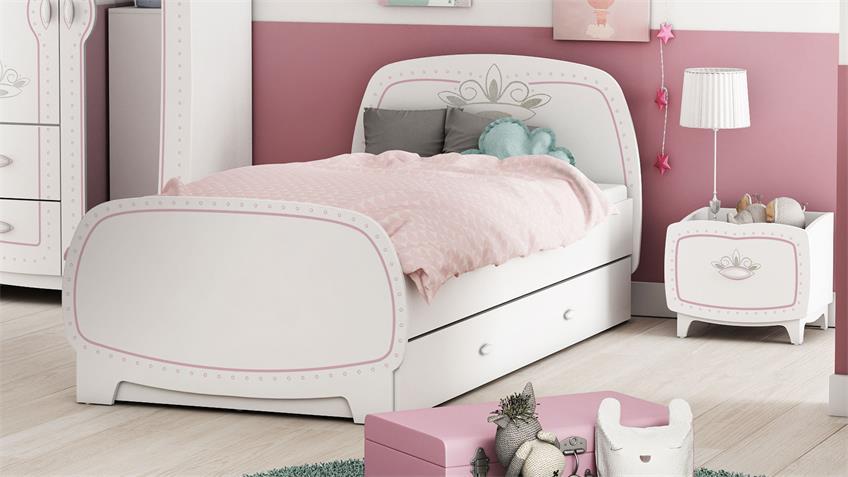 Kinderzimmer Diademe Set 4-teilig Prinzessin weiß rosa