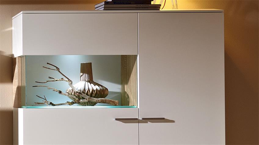 Highboard weiß lackiert Glas Absetzung Eiche Studio 2