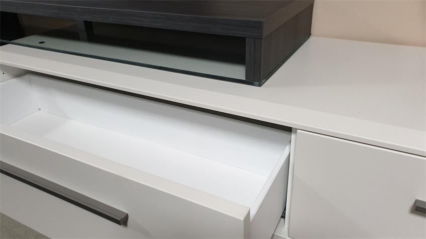 Lowboard  Studio 2 weiß matt lackiert Esche grau Kombi 2