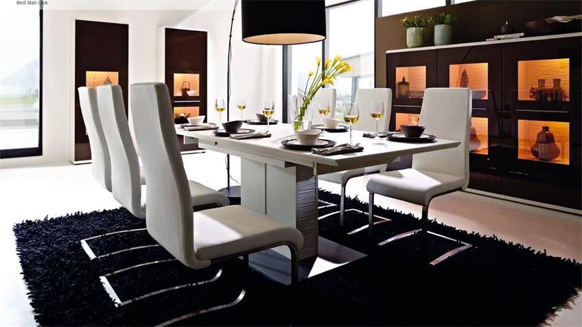 Esstisch LIGHT LINE Tisch 160-205x90 cm weiß mit Auszug