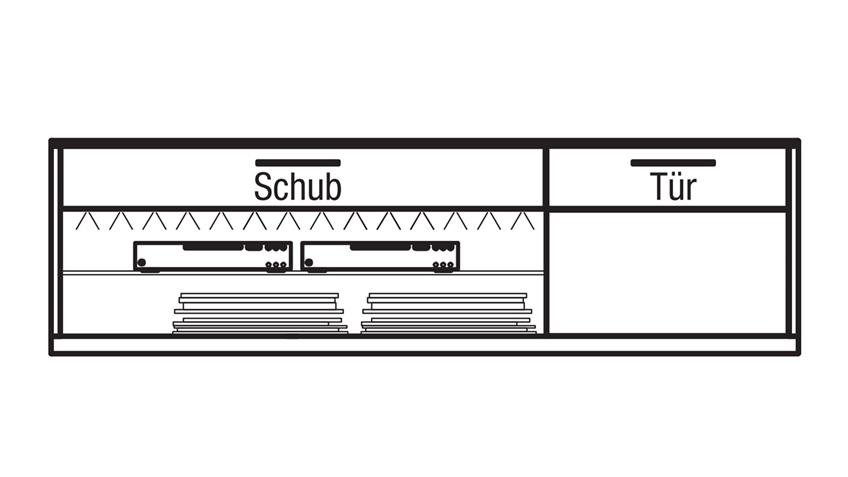 Lowboard LIGHT LINE 4 Eiche Holzfurnier und weiß matt Lack