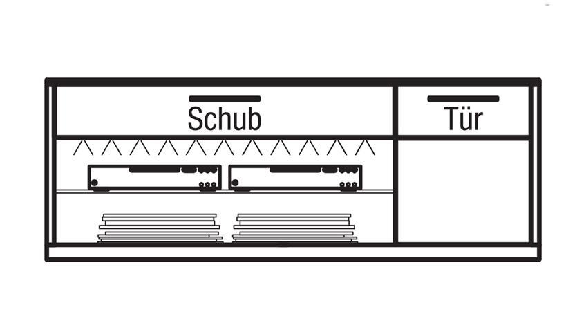 Lowboard LIGHT LINE 4 in sahara Hochglanz Eiche Holzfurnier