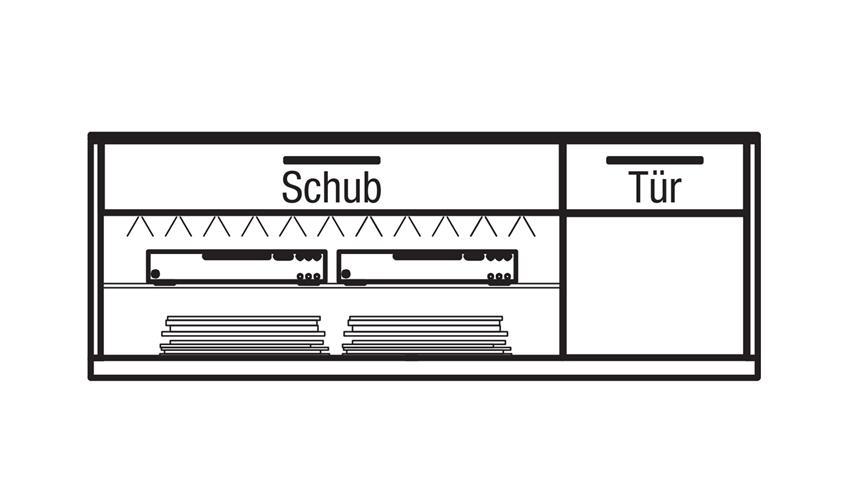 Lowboard LIGHT LINE 4 Eiche Furnier weiß matt lackiert