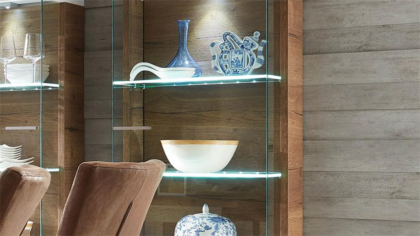 Glasvitrine LIGHT LINE 2 weiß matt Lack und Eiche inkl. LED
