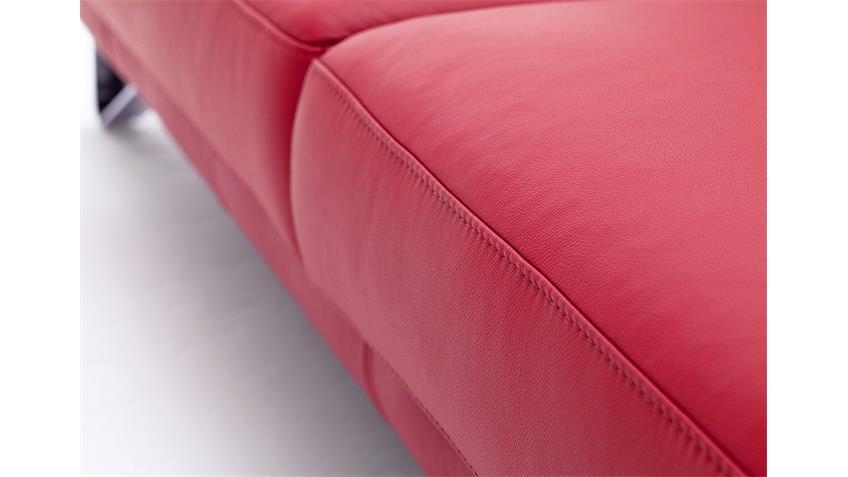 Sofa 3-Sitzer FINEST in Leder kaminrot mit Funktionen