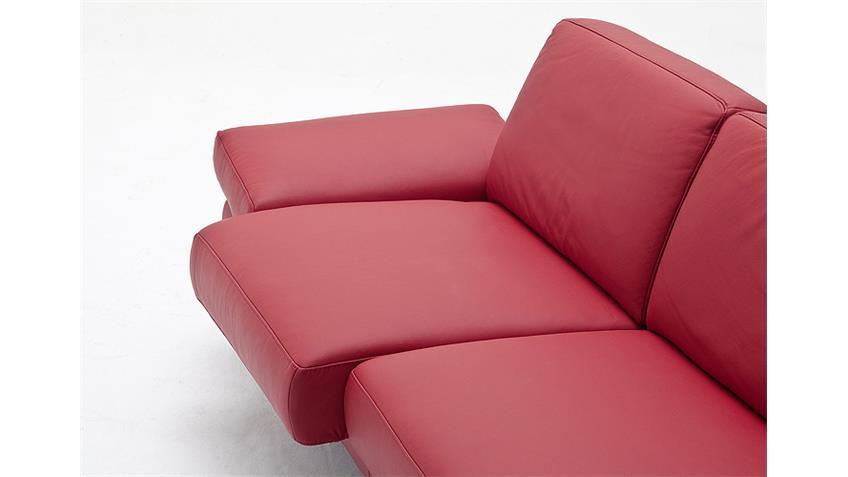 Sofa 2,5-Sitzer FINEST in Leder kaminrot mit Funktionen