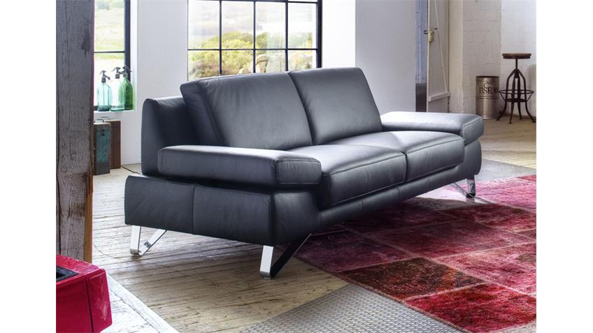 sofa 2 5 sitzer finest in leder schwarz mit funktionen. Black Bedroom Furniture Sets. Home Design Ideas