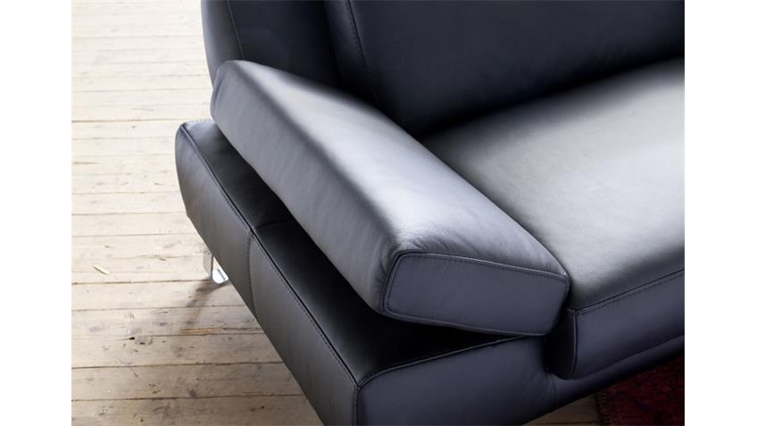 Sofa 2,5-Sitzer FINEST in Leder schwarz mit Funktionen