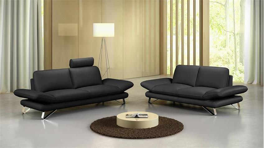 Sofa 3-Sitzer TAIFUNA Einzelsofa Polstermöbel in schwarz