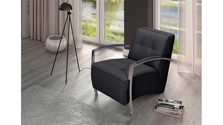 Sessel DIVANI Einzelsessel Sofa in schwarz mit Armlehnen