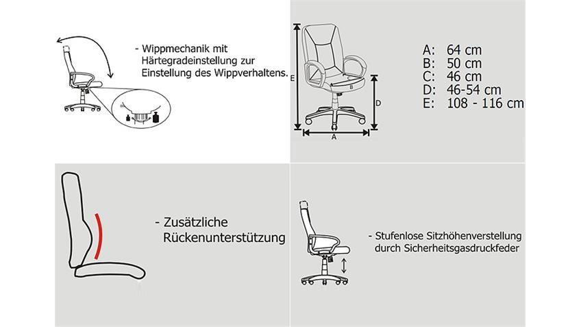 Chefsessel REGENSBURG Sessel Lederlook Netzstoff in schwarz