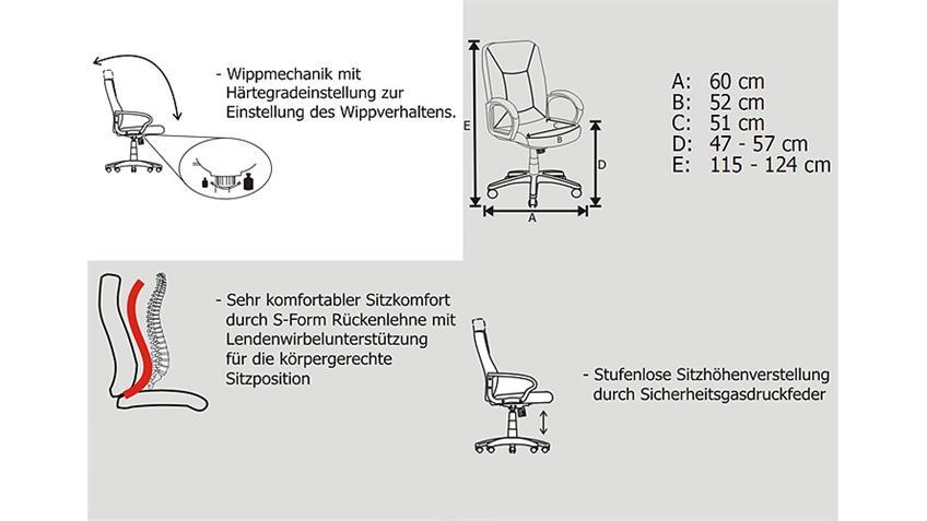 Chefsessel MONTREAL Lederlook und Nylon Schwarz - LGA geprüft