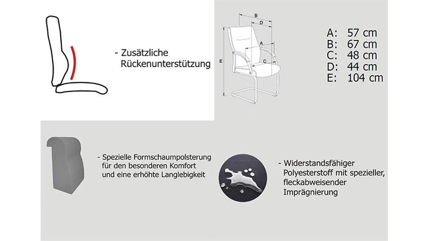 Bürostuhl WERNBERG Stoff schwarz Metall objekttauglich