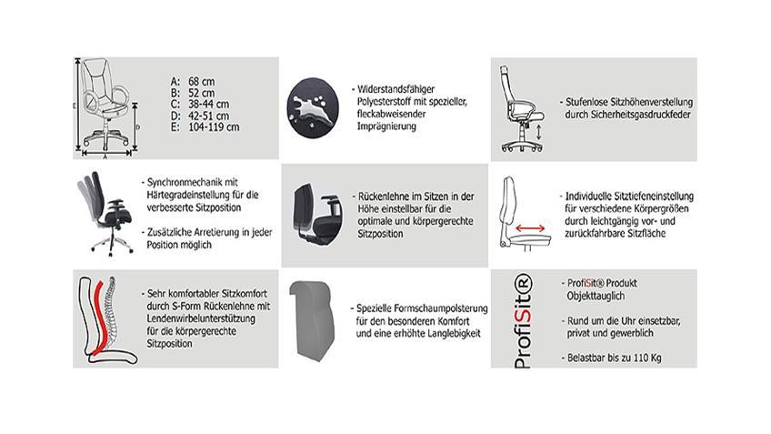 Bürostuhl LINZ Stoff Schwarz und Aluminium - Objekttauglich