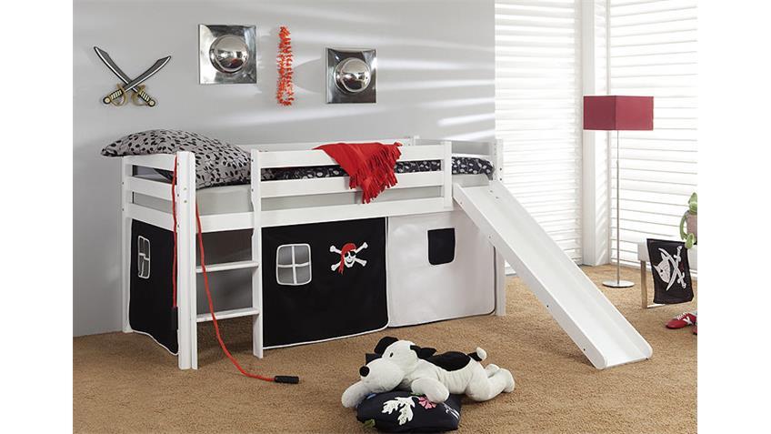 Hochbett I ROBIN Bett in Kiefer massiv und weiß lackiert