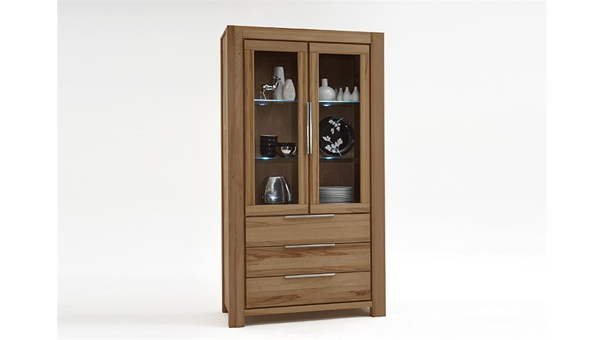 Vitrine NENA Glasvitrine Highboard in Wildeiche massiv geölt