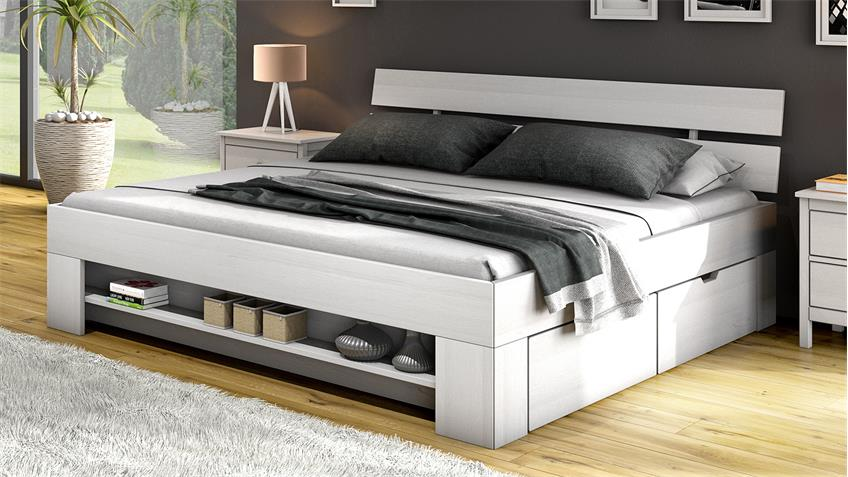 Futonbett HEAL Bett in Kiefer weiß massiv 140x200 cm