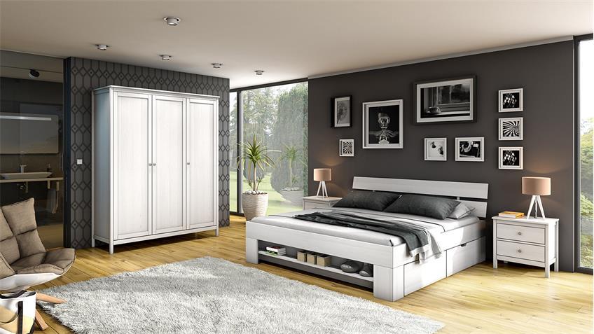 Schlafzimmer HEAL in Kiefer weiß massiv 4-teilig