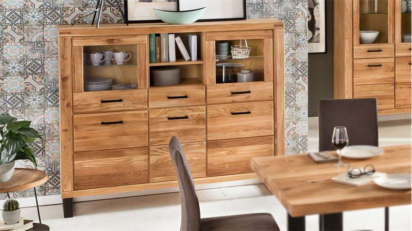 highboard tina vitrine buffet schrank in eiche teilmassiv ge lt 158. Black Bedroom Furniture Sets. Home Design Ideas