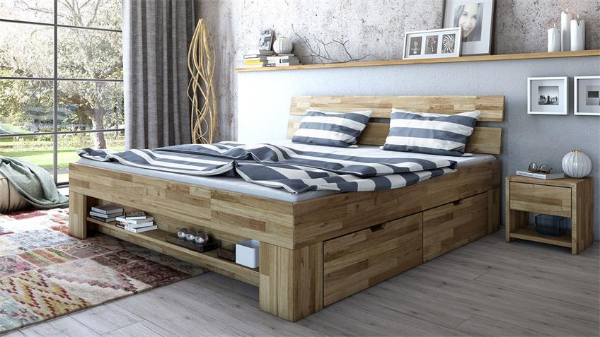 Schlafzimmer Set 3-tlg SARAH-TONI Wildeiche teilmassiv 140x200