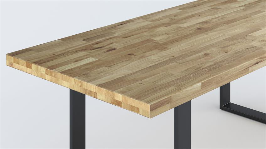 Esstisch 2528 Tisch in Wildeiche massiv mit U-Gestell 180x100