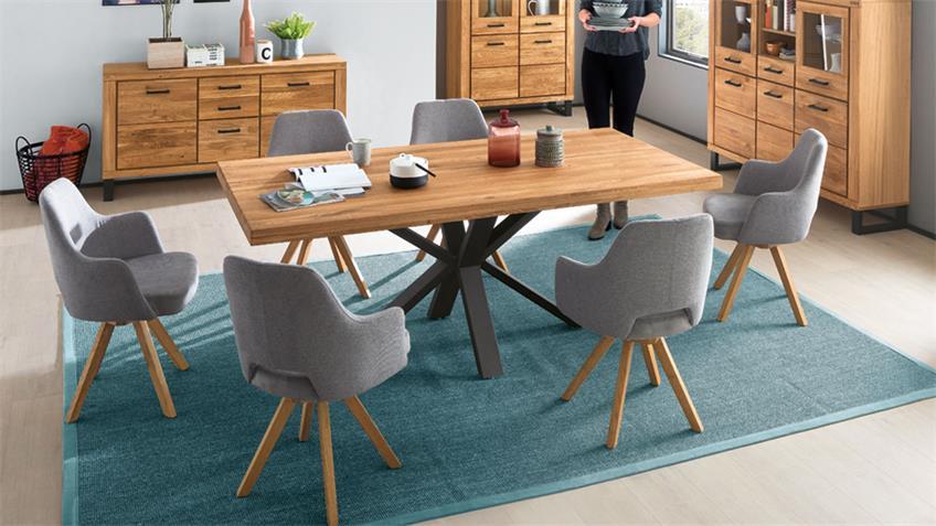 Esstisch Eastbourne Tisch in Eiche massiv mit Metallgestell 200x100