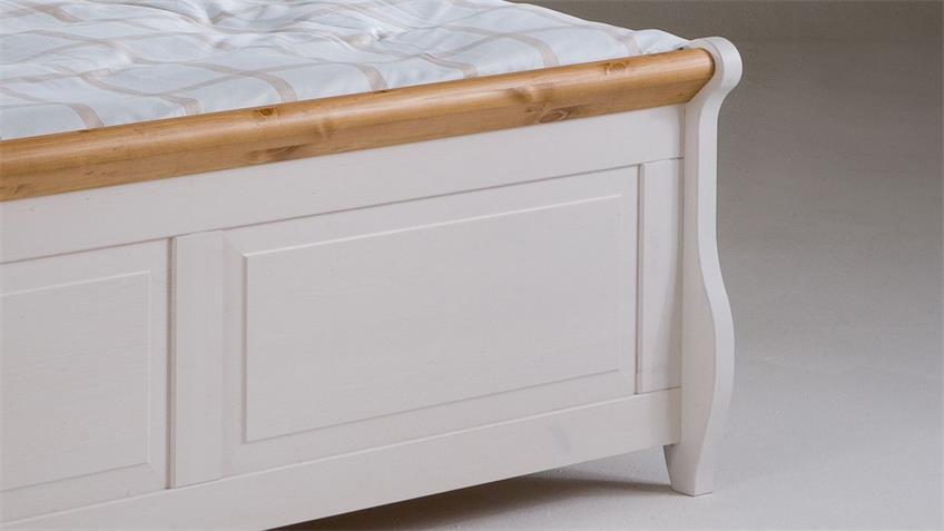 Bett MALTA Kiefer massiv Weiß Antik 160x200 mit Schubkasten