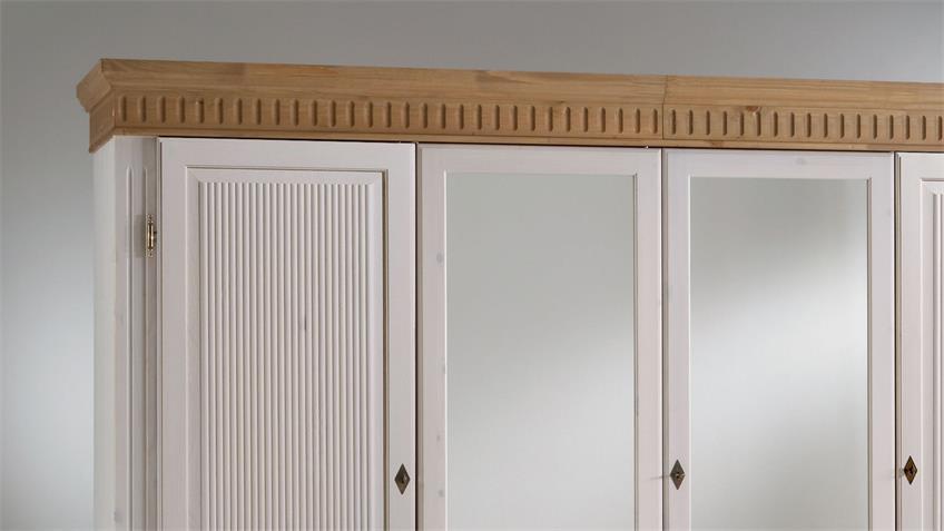 Kleiderschrank HELSINKI Kiefer massiv weiß antik braun 4-türig