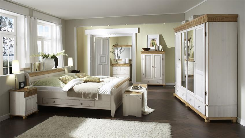 Schlafzimmer Set HELSINKI MALTA 4-tlg Kiefer massiv weiß hellbraun