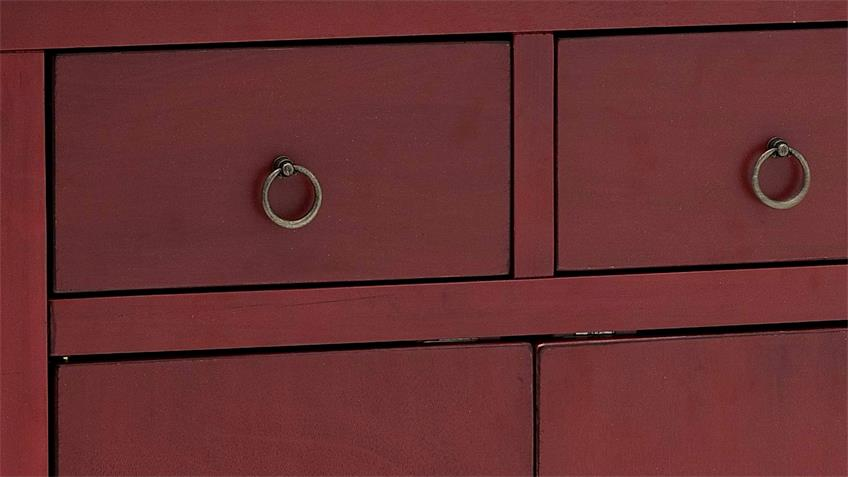 Kommode LIN Aufbewahrung Schrank rot mit Schubkästen