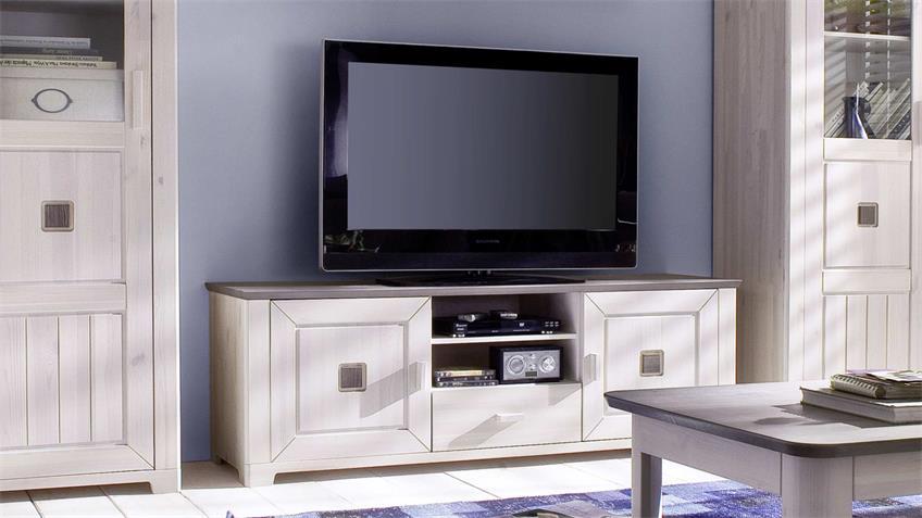 TV-Lowboard MALMÖ Kiefer massiv weiß und lava 160 cm breit