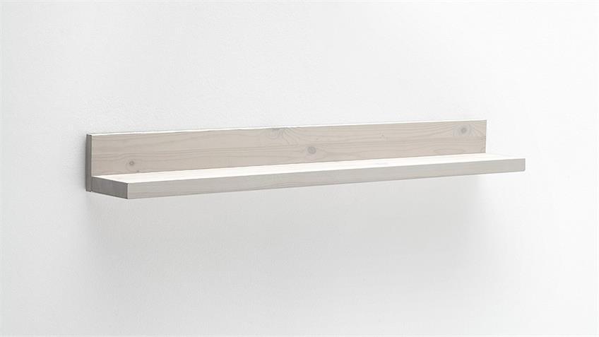 Wandboard MALMÖ Wohnzimmer Regal Kiefer massiv weiß