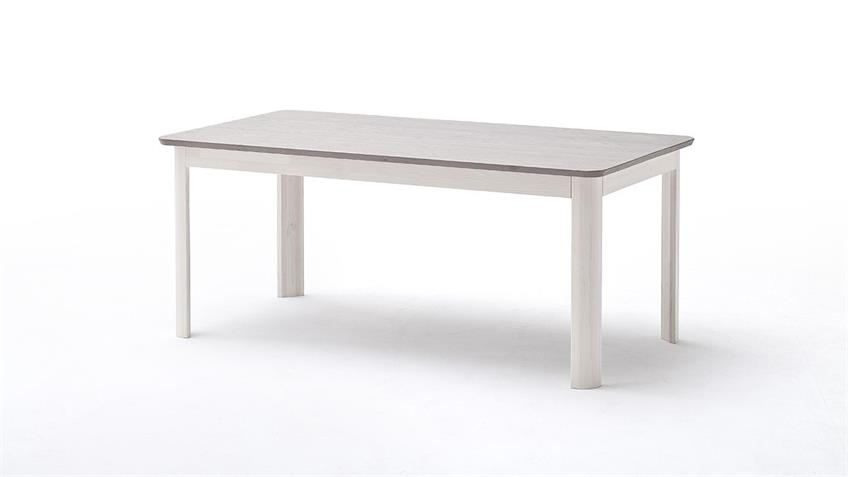 Esstisch MALMÖ Esszimmer Tisch Kiefer massiv weiß lava 140cm