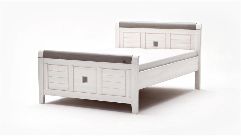 bett malm kiefer massiv wei lava grau 140x200 cm. Black Bedroom Furniture Sets. Home Design Ideas