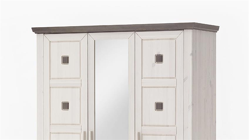 Kleiderschrank MALMÖ Kiefer massiv weiß lava 3-trg mit Spiegel