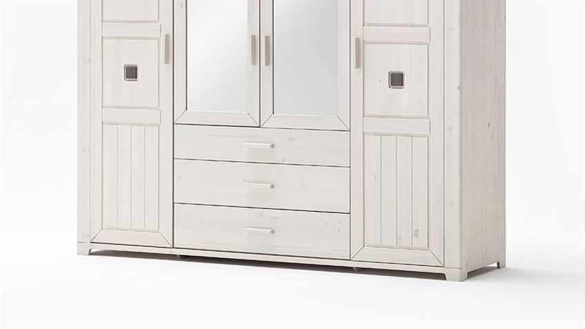 Kleiderschrank MALMÖ Kiefer massiv weiß lava 4-trg mit Spiegel