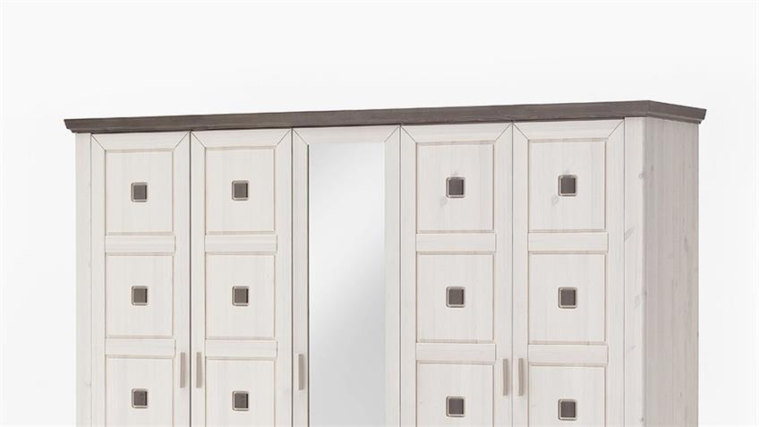 Kleiderschrank MALMÖ Kiefer massiv weiß lava 5-trg mit Spiegel