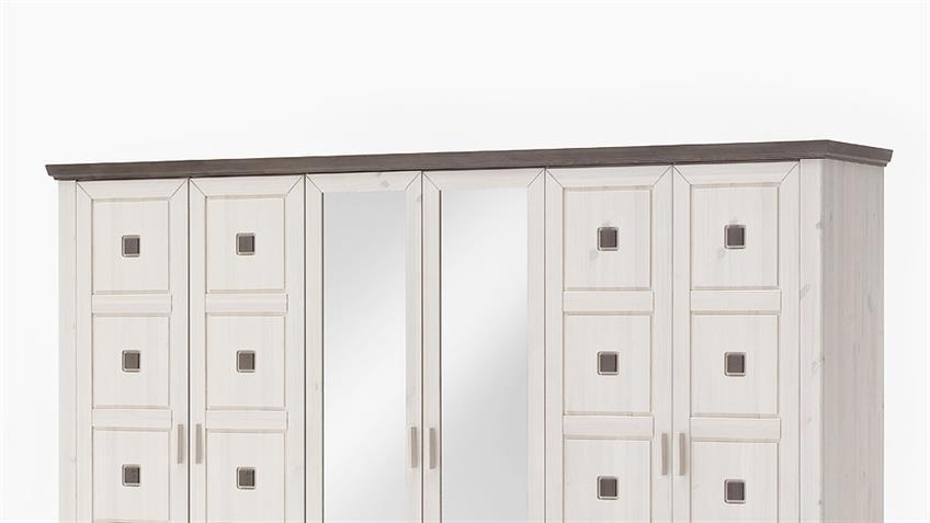 Kleiderschrank MALMÖ Kiefer massiv weiß lava 6-trg mit Spiegel