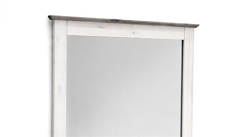 Spiegel MALMÖ Kiefer massiv weiß und lava grau 80x75 cm