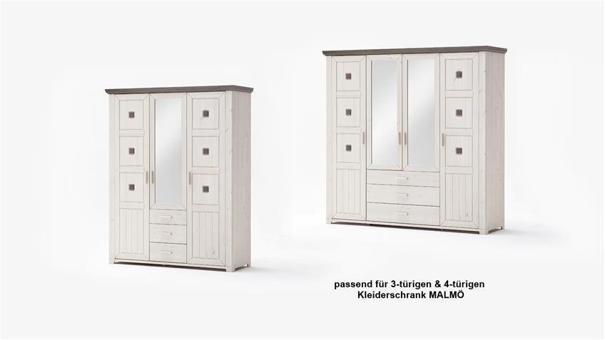 Einlegeboden 2er Set MALMÖ Kiefer massiv weiß schmal 56 cm