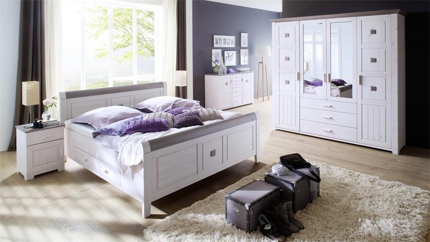 Schlafzimmer Set MALMÖ Kiefer weiß lava 4-trg Schrank 4-teilig